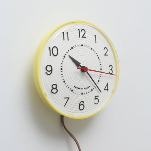VINTAGE INGRAHAM HARMONY HOUSE YELLOW  WALL CLOCK