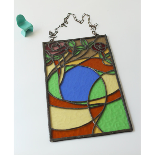 vintage Stained Art Glass Plaque