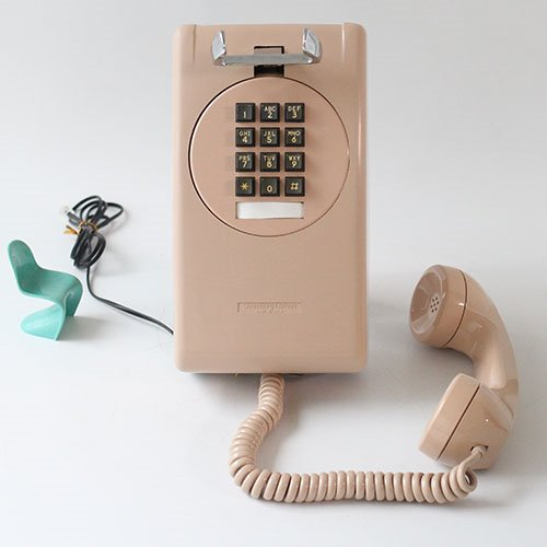 vintage pink BEIGE button wall phone
