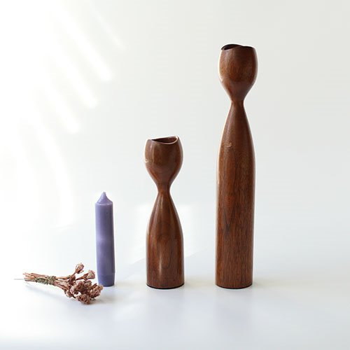 DANISH WOOD DENMARK TEAK Candlesticks