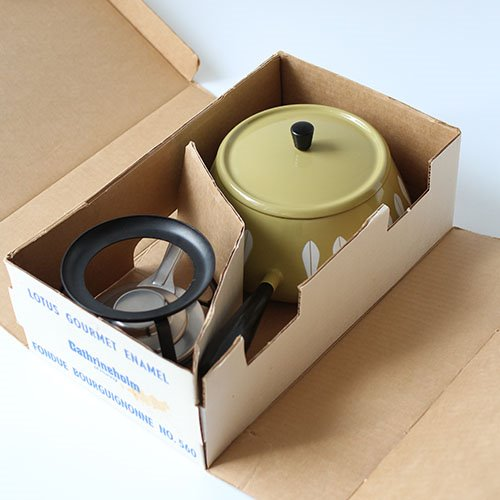 vintage cathrineholm fondue pot set (NEW)