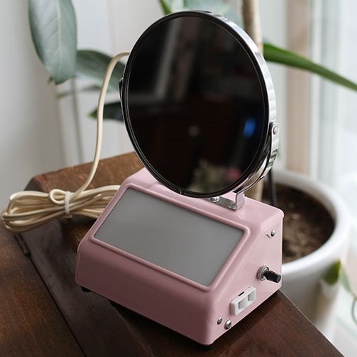 vintage PINK light mirror