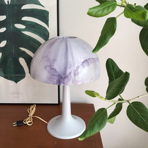 vintage purple marbled mushroom lamp