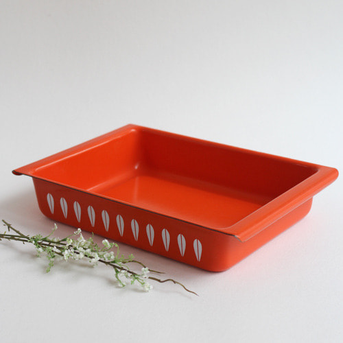 vintage ORANGE cathrineholm baking pan