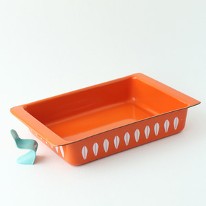 vintage ORANGE cathrineholm baking pan #02