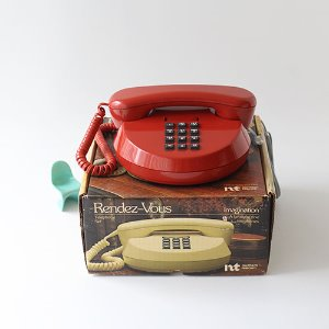 vintage red circle telephone