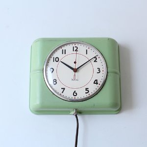 vintage green westclox wall clock