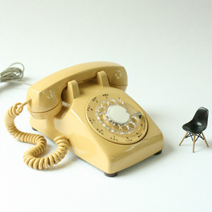 vintage gold yellow rotary desk phone