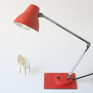 vintage red desk lamp